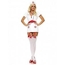 Костюм Похотливая медсестра  Костюм состоит из:  · халатика с подвязками для чулок · головного убора · лакового ремня