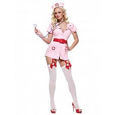 Костюм Похотливая медсестра розовая  Костюм состоит из:  · халатика на пуговицах · с подвязками для чулок · головного убора · лакового пояса