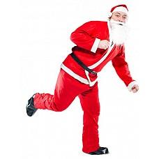Костюм Санта   Костюм состоит из:  · головного убора · бороды · куртки · штанов · ремня  ! Костюм поставляется с картонным вкладышем