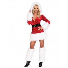 Костюм - снежная королева  Костюм состоит из:  · платья (длина 85см) · гетр с помпонами · ремня · капюшона