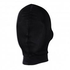 Черная глухая маска на голову  Плотная эластичная тянущаяся маска на голову черного цвета из материала с добавлением хлопка. Маска полностью глухая - закрывает глаза, нос и рот.