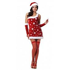 Новогодний костюм снегурочки  Костюм состоит из:  · головного убора · платья · нарукавников · чулок