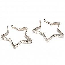 Серьги-звездочки с кристаллами Diamond Star  Одним из самых женственных аксессуаров среди украшений являются серьги. Это прекрасное дополнение даже к простой прическе или неброскому макияжу, а тем более, легкие серьги в форме звезд с двойной полоской кристаллов на каждом лучике звезды.<br><br> Замок - гвоздик.