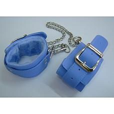Оковы голубые с ремешком, соединенные цепочкой длиной 35см 5012-5  Оковы голубого цвета, изготовленные из кожзама.