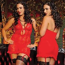 Гипюровое красное платье с завязками на груди  Привлекательное гипюровое платье с красивым глубоким декольте и сексапильными завязками, удачно подчеркнет Вашу грудь.