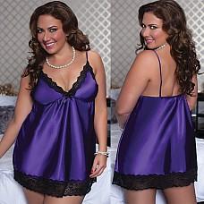 Очаровательный атласный бэби-долл фиолетовый STM-9721XPUR2X  Воздушный бэби-долл из фиолетового блестящего атласа.