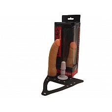 Страпон Харнес в подарочной упаковке из ПВХ 280703ru  Рельефная насадка для страпона, в комплект входят трусики.