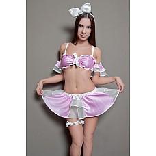"""Костюм """"Кукла Викки"""" Размер 42-44 2597-42-44  Костюм нежной куколки состоит из белого бантика-ободка, белой кружевной подвязки, розовых наруквничков, пышной бело-розовой юбки с бантиками и вставками из сетки и ажурного лифа на бретельках (размер регулируется) Размер 42-44."""