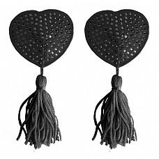Украшение на соски  Nipple Tassels Heart черное  Наклейки на соски в форме сердечек с кисточками, являются идеальным украшением, позволяющим приятно удивить и соблазнить. Внутренняя сторона имеет липкую поверхность для быстрого закрепления и снятия. Материал: сатин/ПВХ.