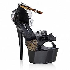 Элегантные туфельки LEOPARD LACE 35  Туфельки цвета под леопарда с черной глянцевой платформой и каблуком шпилькой.
