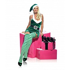 """Новогодний костюм """"Мисс Sexy Эльф"""" , M/L, Зеленый  Новогодний костюм сексуальной девушки-эльфа."""