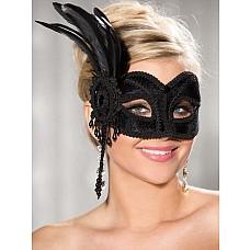 Маска на глаза с перьями  Маска на глаза карнавальная украшена перьями(черный)
