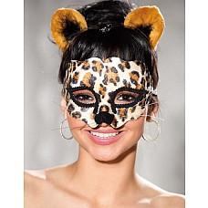 Леопардовая маска и ободок с ушками  Маска на лицо карнавальная +ободок с ушками (Леопард)