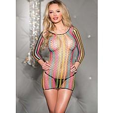 Кофта-платье из радужной сетки