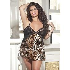 Сорочка с кружевным лифом и принтом леопарда
