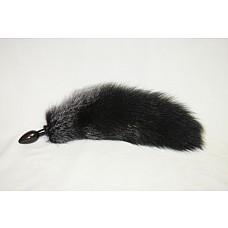 Анальная пробка черного цвета диам.40мм с черным лисьим хвостом BF40black/black  Анальная пробка, черного цвета, диаметр 4 см с черным лисьем хвостом.