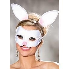 Карнавальная маска зайки и ободок с ушками  Маска зайка на лицо карнавальная +ободок с ушками.