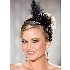 Ободок на голову с бантом и перьями  Ободок с бантом и перьями.