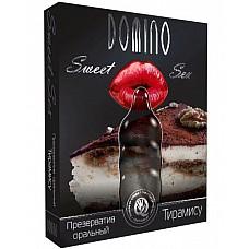 """Презерватив DOMINO Sweet Sex """"Тирамису""""  Сексуальный аппетит вашей партнёрши разыграется не на шутку, если предложить ей такой необычный десерт. <br><br> Презерватив со вкусом и ароматом тирамису позволит женщине насладиться каждой секундой оральных ласк. <br><br> Будоражащий запах, сладкие прикосновения горячего язычка… Это DOMINO Sweet Sex!"""