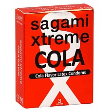 Презервативы Sagami Xtreme COLA (3 шт.)  Привнести новую нотку в привычную мелодию экстаза – проще, чем вам кажется. И нужно лишь одно – надеть Sagami Xtreme COLA. <br><br> Тонкие гладкие презервативы с дразнящим ароматом Колы  сделают близость защищённой и более сладкой! Sagami Xtreme COLA – кто на новенькое?