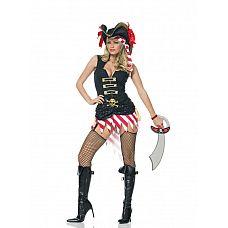 Костюм пирата, L,   Костюм пирата: платье, повязка на голову и пояс.