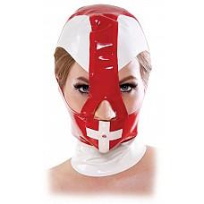 Красно-белый шлем на молнии  Этот капор сделан из высококачественного латекса, К услугам гостей большие отверстия для глаз и носа, а также небольшое отверстие над ртом для легкого дыхания. Молния сзади защищает волосы и кожу, В этой потрясающе блестящей маске, вы будете иметь контроль над вашим пациентом . Применяйте детскую присыпку или тальк на кожу и внутрь капора,это облегчает его надевание.