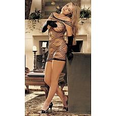 Сексуальная сорочка Паутина  Эластичная сорочка в крупную сетку в виде паутины с открытыми плечами (чулочное плетение).