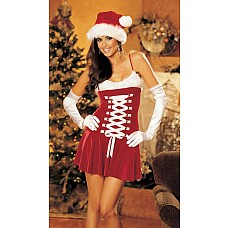 Кокетливое платье снегурочки для Санты  Платьице из эластичного бархата с отделкой из искусственного меха по верхней линии бюста. Утягивающая фронтальная шнуровка на атласной ленте, бретельки регулируются по длине, нижний край расклешен.<br><br>  Предметов в комплекте: 1-платье.