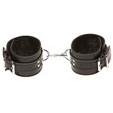 Чёрные кожаные оковы X-Play с чёрным мехом внутри  Чёрные кожаные оковы X-Play с чёрным мехом внутри.