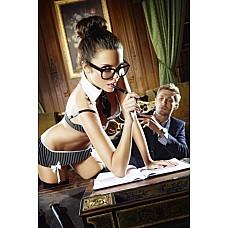 Игровой костюм СЕКРЕТАРША СЕКСИ: топ, мини-юбка, воротничок и галстук  Игровой костюм СЕКРЕТАРША СЕКСИ: топ, мини-юбка, воротничок и галстук  . Размер: D. Цвет: черный с белым. Состав: 94% Plyester, 6% Spandex. Производитель: Dreams by Baci Lingerie, США.