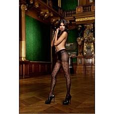 Devil Колготки OS (42-46), черный  Эти прекрасные слегка прозрачные колготки с жаккардовым рисунком черного цвета очаровывают благодаря сдержанному узору и верхней частью контрастного цвета. Эти колготки подойдут не только для романтических моментов, но и для повседневной носки. Универсальный Размер; цвет: черный