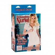 Кукла - медсестра.  Любовная кукла из ПВХ с белым халатиком и шапочкой медсестры. Красивое 3-D лицо, с розовыми манящими губами,  маленьким носиком и длинными волосами.  Два любовных отверстия.