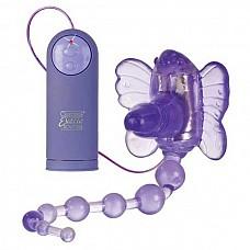 Вибростимулятор Waterproof Venus Penis Stimulator  Стимулятор клитора на ремнях Waterproof Venus Penis Stimulator с анальной цепочкой - 3 в 1! Игрушка в форме бабочки, которая нежно массирует клитор, с маленьким фаллосом для вагинального проникновения и мягкой анальной цепочкой из 8 звеньев.   <br><br>Вибратор имеет 7 функций вибрации и пульсации, пульт управления выносной.