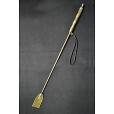 Стек с деревянной ручкой бронза  Состоит из деревянной рукояти и хлыста из гибкой полимерной основы, оплетённых искусственной кожей.
