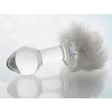 Стеклянная анальная втулка с белым хвостиком  Стеклянная анальная втулка с хвостиком.