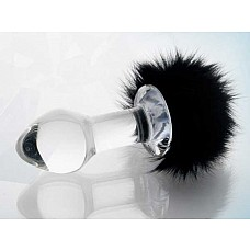 Стеклянная анальная втулка с черным хвостиком  Стеклянная анальная втулка с черным хвостиком.