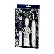 Набор подарочный White Nights  Эротический набор из люкс-коллекции WHITE NIGHTS. Выполнен в белом цвете, из материала Velvet Touch бархатистого на ощупь.   <br><br>В набор входит: <br> - вибратор длиной 15 см, диаметром 2,5 см;  <br> - четырехскоростное вибро-яичко; <br> - вибро-стимулятор для клитора или сосков.  <br><br>Все устройства работаю от пальчиковых батареек типа АА. В подарок массажное масло 30 мл с цветочным ароматом. Отличный подарок в красивой упаковке.