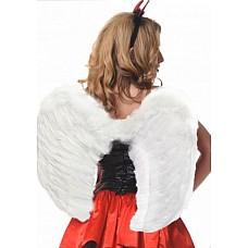 Крылья перьевые закругленные 60х50см белые  Ширина (размах) 60 см Высота 50 см Цвет: белый
