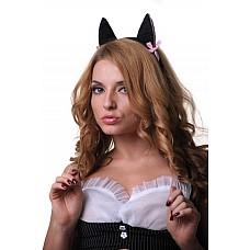 Ушки кошки черные с розовыми вставками  Набор состоит из  · ушек