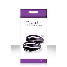 Черные стеклянные вагинальные шарики CRYSTAL KEGEL EGGS  Вагинальные шарики Кегеля в форме яиц для укрепления влагалищных мышц и возбуждения. Имеют двухцветный стильный дизайн. Сделаны из 100% высококачественного боросиликатного стекла. В комплекте шелковый мешочек для хранения и подробная инструкция с упражнениями. Идеально подходит для температурной игры.