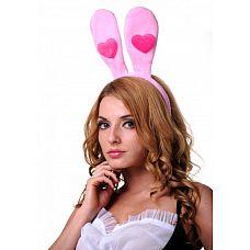 """Ушки зайчика с сердечком 02872OS  """"Розовые ушки зайчика с сердечками."""