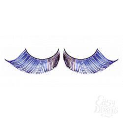 Светло-синие завитые ресницы-перья