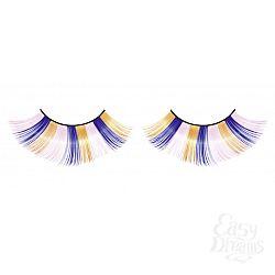 Голубо-розово-желтые пушистые ресницы