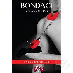 Красные меховые оковы на ноги BONDAGE