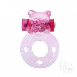 Baile Эрекционное виброкольцо Pink bear  BI-010083