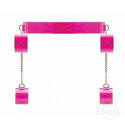 Розовый ошейник c наручниками