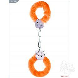 Металлические наручники с оранжевым мехом