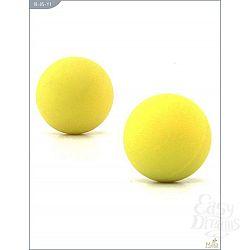 Металлические вагинальные шарики с жёлтым силиконовым покрытием