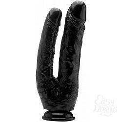 Чёрный анально-вагинальный фаллоимитатор Realistic Double Cock 10 Inch - 25,5 см.