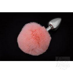 Маленькая серебристая пробка с пушистым розовым хвостиком